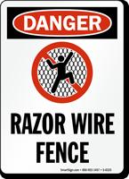 Razor Wire Fence OSHA Danger Sign