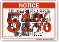 Red 51% Handgun Notice Sign