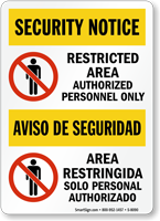 Bilingual Restricted Area Security Notice Sign