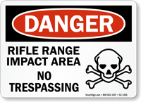 Rifle Range Impact Area OSHA Danger Sign