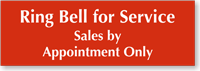 Ring Bell For Service Engraved Sign
