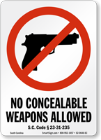 South Carolina Firearms And Weapons Law Sign