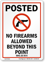 South Dakota Firearms And Weapons Law Sign