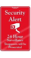 Security Alert, 24 Hour Surveillance Wall Sign