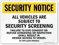 Vehicles Subject To Security Screening Marsec Sign