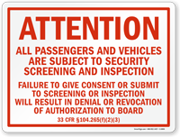 Passengers And Vehicles Subject To Security Screening Sign