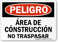Spanish Area De Construccion No Traspasar Sign