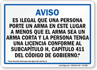 Spanish, Blue Handgun Warning Sign for Texas