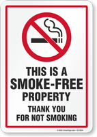 This Is A Smoke Free Property No Smoking Sign