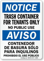 Trash Container For Tenants Only Bilingual Sign