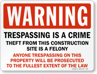 Warning Trespassing Is A Crime Sign