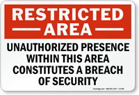 Unauthorized Presence Constitutes A Breach Of Security Sign