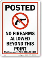 Utah Firearms And Weapons Law Sign