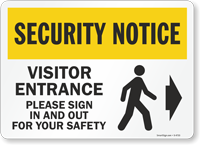Visitor Please Sign In and Out Sign