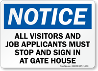 All Visitors, Job Applicants Sign In Sign
