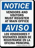 Notice Vendors Visitors Must Register Bilingual Sign