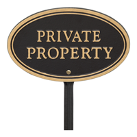 Private Property Oval Plaque