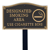 Designated Smoking Area Statement Lawn Plaque
