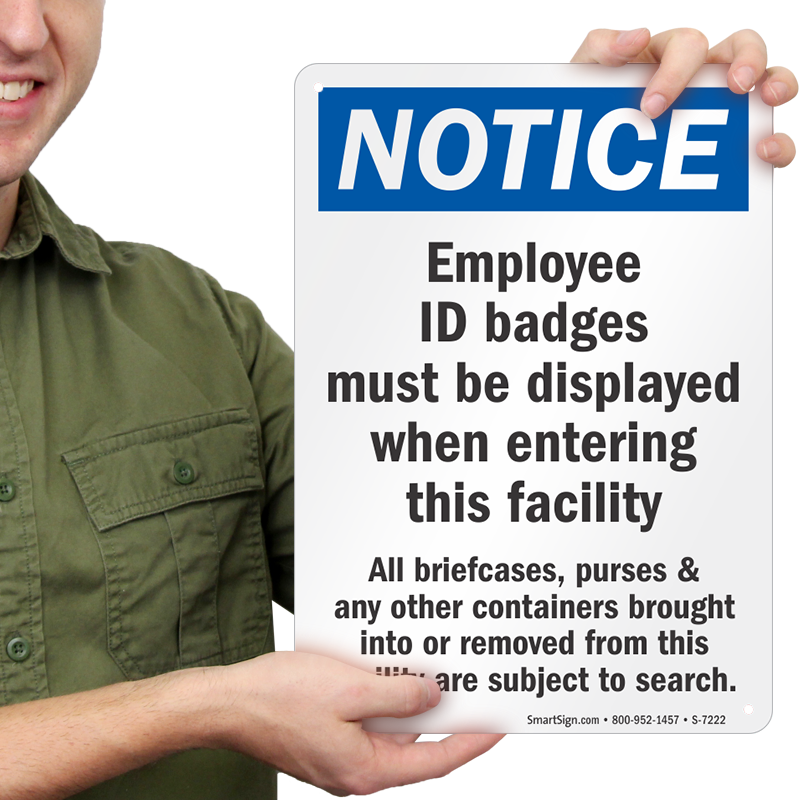 employee id badges must be displayed sign sku s 7222