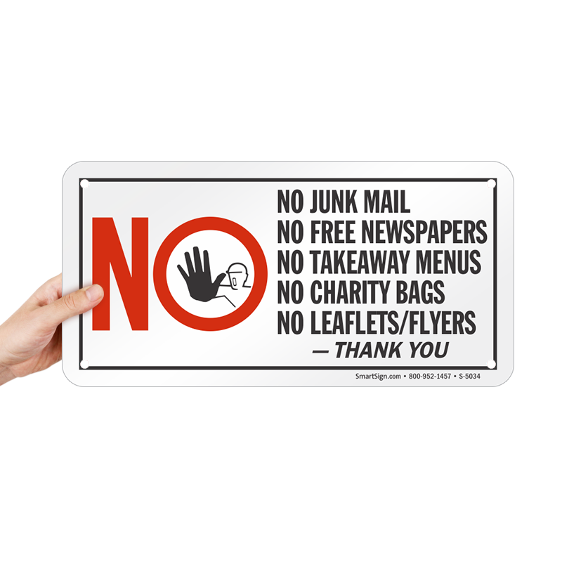 no junk mail free newspapers charity bags leaflets sign sku s 5034