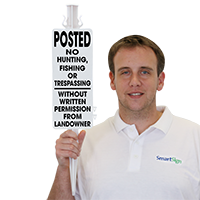Posted No Hunting Fishing or Trespassing Molded Sign