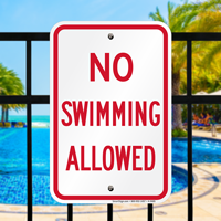 No Swimming Allowed Signs