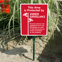 Area Protected By Video Surveillance LawnBoss Sign