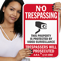 Arizona Trespassers Will Be Prosecuted Sign