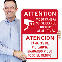 Bilingual Attention Video Surveillance Signs