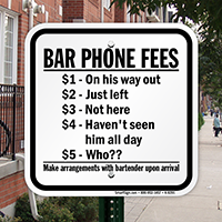 Novelty Bar Phone Fees Sign