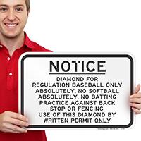 Diamond for Regulation Baseball Only Sign
