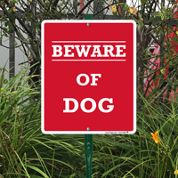 Beware of dog sign for outdoors