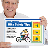 Bike Safety Tips (Hand Signals) McGruff Sign