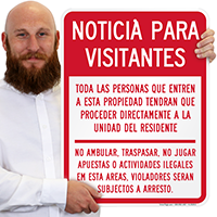Spanish Notice For Visitors Sign