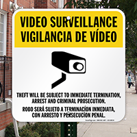 Bilingual Theft Subject To Immediate Termination Sign
