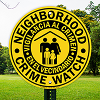 Bilingual Neighborhood Crime Watch Sign