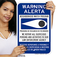 Bilingual Neighborhood Watch Sign