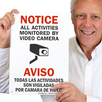 Bilingual All Activities Monitored Video Camera Signs