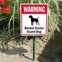 Warning Border Terrier Guard Dog LawnBoss™ Signs