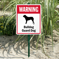 Warning Bulldog Guard Dog LawnBoss™ Signs