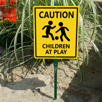 Caution Children At Play LawnBoss® Sign