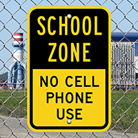School Zone No Cell Phone Sign