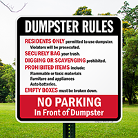 Residents Only Dumpster Rules Sign