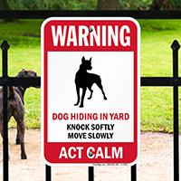 Warning, Dog Hiding In Yard Guard Dog Sign
