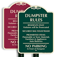 Dumpster Rules, No Parking Sign