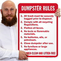 Keep Area Clean And Litter Free Dumpster Sign