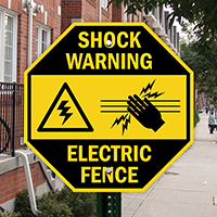 Shock Warning Electric Fence with Graphic Sign