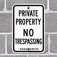 Georgia No Trespassing Sign