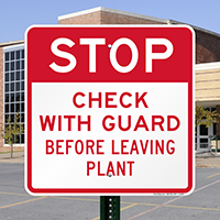 Stop Check with Guard Traffic Security Sign
