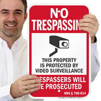 Hawaii Property Is Protected By Video Surveillance Sign